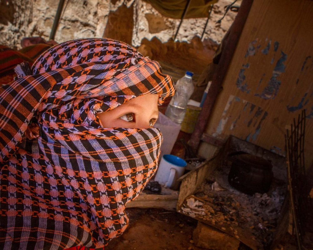 Child with a headscarf in Jordan