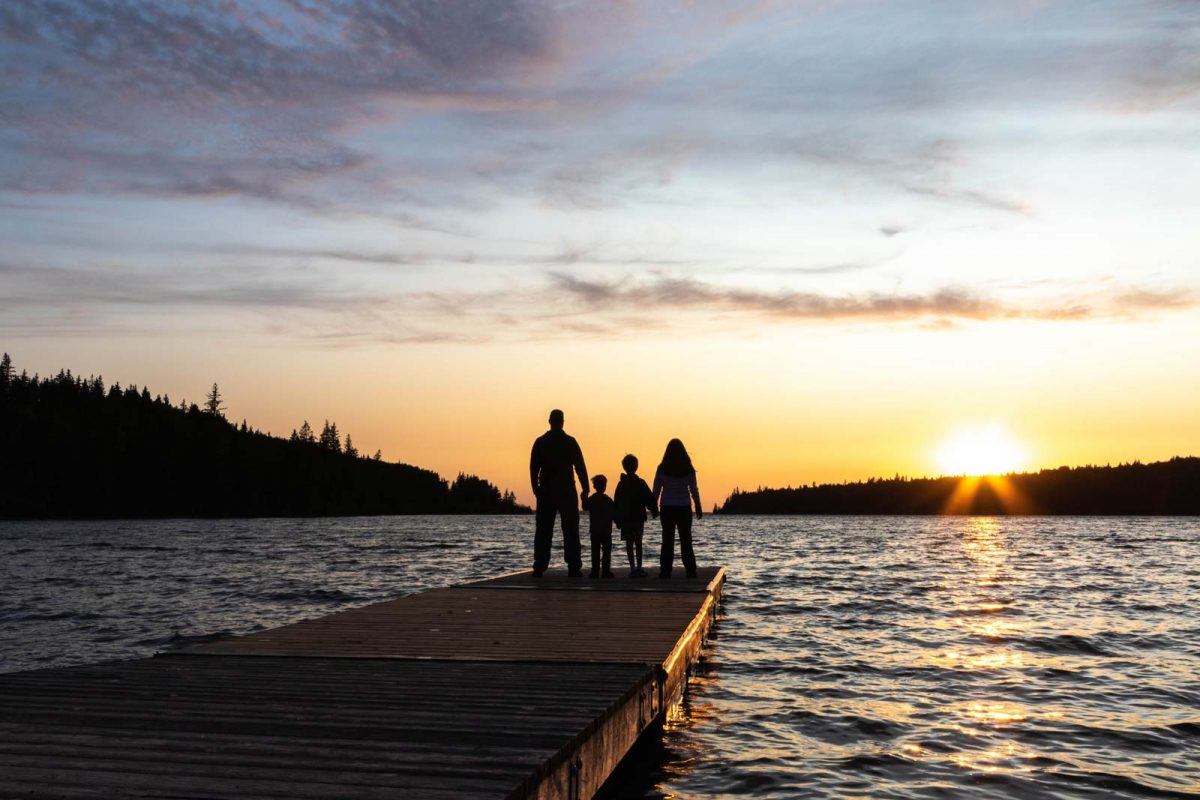 Family at Sunset in Riding Mountain National Park