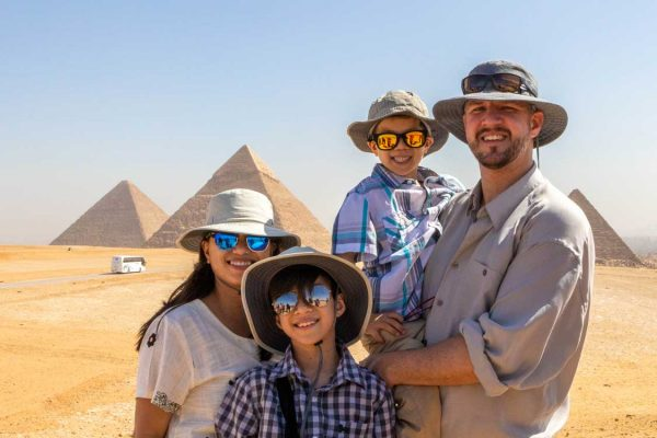 Kevin Wagar and his family in Egypt
