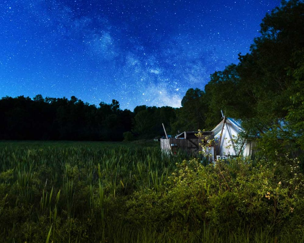 Fronterra Farms glamping tent against the Milky Way