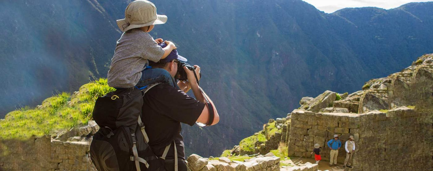 Kevin Wagar and his son in Machu Picchu