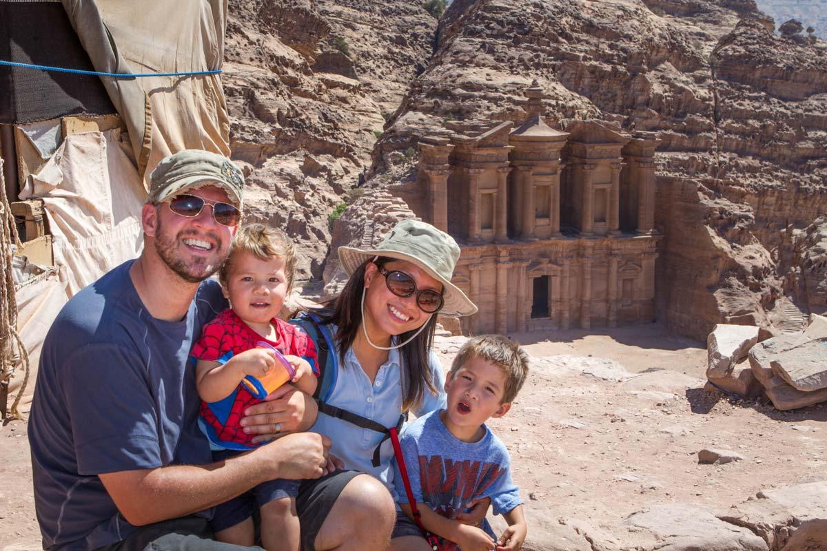 Kevin Wagar and his family in Jordan